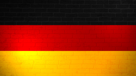 Germany national flag painted on brick wall. Stone wall texture background. Vintage minimalistic template for wallpaper,poster, banner.Background for design in country flag.Vector grunge illustration.