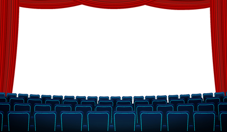Cinema hall with white blank screen, chairs and red curtain. Realistic blue chairs movie theater seats facing a screen background. Vector in flat design with screen, curtain and rows of armchairs. EPS