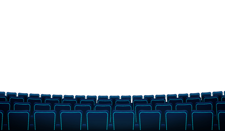 Cinema hall with white blank screen and chairs. Realistic rows of blue chairs movie theater seats facing a white screen background. Vector in flat design with white screen and rows of armchairs.EPS 10