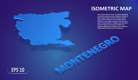 Isometric map of the MONTENEGRO. Stylized flat map of the country on blue background.Modern isometric 3d location map with place for text or description.3D concept for infographic. Vector illustration