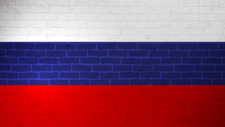 Russian Federation national flag painted on brick wall. Stone wall texture background. Old vintage minimalistic template for wallpaper, poster, banner. Background for design in country flag. EPS 10 일러스트