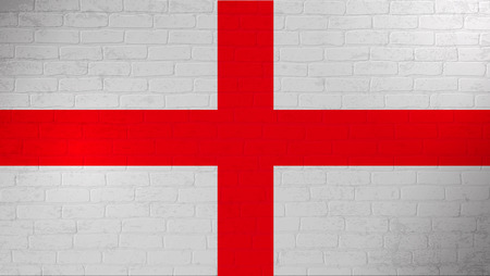 England national flag painted on brick wall. Stone wall texture background. Vintage template for wallpaper,poster, banner. Background for design in country flag. Vector grunge illustration. EPS 10