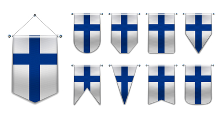 Set of hanging flags of the FINLAND with textile texture. Diversity shapes of the national flag country. Vertical Template Pennant for background, banner, web site, logo,award, achievement, festival