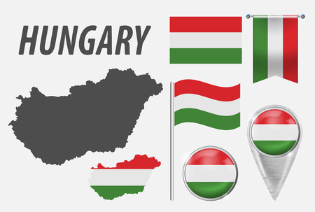 HUNGARY. Collection of symbols in colors national flag on various objects isolated on white background. Flag, pointer, button, waving and hanging flag, detailed outline map and country inside flag.EPS