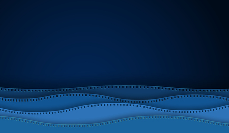 Wave cinema film strip paper cut isolated on blue background. 35 mm camera diapositive for design layout cinema poster, banner, flyer, brochure, cover. Closeup view cinema with space for your text.