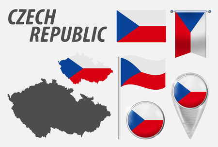 CZECH REPUBLIC. Collection symbols in colors national flag on various objects isolated on white background. Flag, pointer, button, waving and hanging flag, detailed outline map and country inside flag