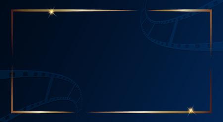 Film strip isolated on dark blue background with gold frame. Design template cinema festival banner, brochure, flyer, poster, tickets, leaflet. Vector illustration in 3d isometric style. Vector EPS 10 Illustration