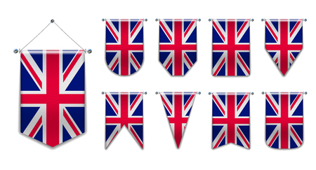 Set of hanging flags of the UNUTED KINGDOM with textile texture. Diversity shapes of the national flag country. Vertical Template Pennant for background, banner, web, logo,award, achievement, festival