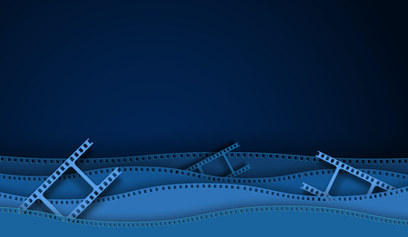Paper cut cinema decorations with film strip frame isolated on blue background. 35 mm camera diapositive for design layout cinema.Closeup view cinema with space for your text. Abstract paper art style Illustration