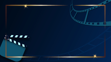 Film strip and clapper-board isolated on dark blue background with gold frame. Design template cinema festival banner, brochure, flyer, poster, tickets. Vector illustration in 3d isometric style. EPS