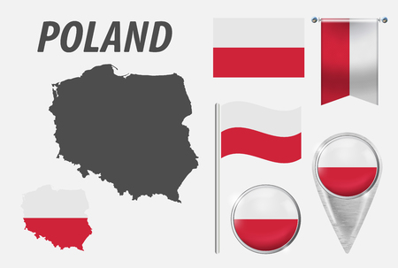 POLAND. Collection of symbols in colors national flag on various objects isolated on white background. Flag, pointer, button, waving and hanging flag, detailed outline map and country inside flag. EPS