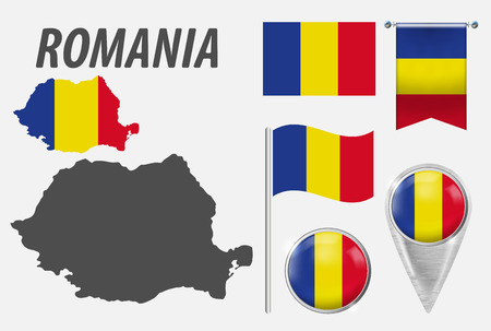 ROMANIA. Collection of symbols in colors national flag on various objects isolated on white background. Flag, pointer, button, waving and hanging flag, detailed outline map and country inside flag.