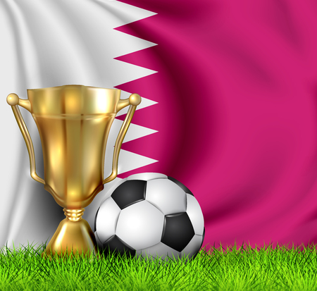 Golden realistic winner trophy cup and soccer ball isolated on national QATAR flag. National team is the winner of the football. Cup winner in the form of a golden bowl. Sport design background.