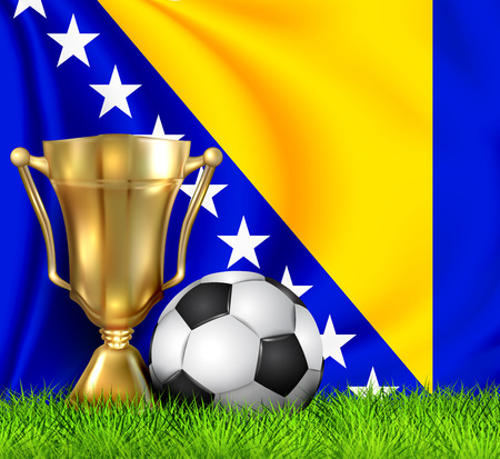 Golden realistic winner trophy cup and soccer ball isolated on national BOSNIA and HERZEGOVINA flag. National team is the winner of the football. Sport design background. First place trophy. EPS 10 Illustration