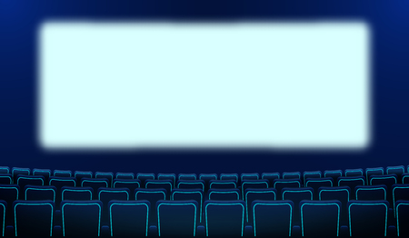 Realistic rows of blue chairs cinema and white blank screen in the darkness. Cinema auditorium and movie theater seats facing empty scene design. Vector flat cinema style cartoon illustration. EPS 10. Stock Illustratie