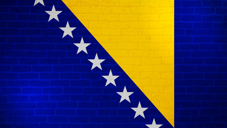 Bosnia and Herzegovina national flag painted on brick wall. Stone wall texture background. Old vintage minimalistic template for wallpaper, poster, banner. Background for design in country flag. EPS 10