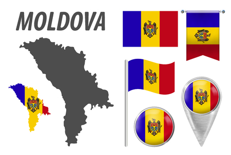 MOLDOVA. Collection of symbols in colors national flag on various objects isolated on white background. Flag, pointer, button, waving and hanging flag, detailed outline map and country inside flag. EPS Illustration