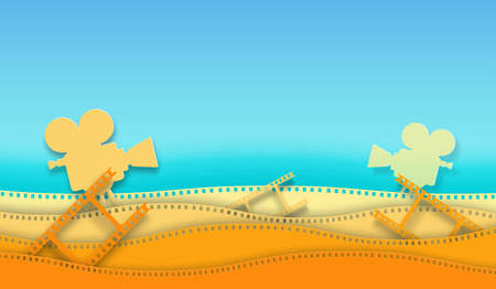 Wave film strip and cinema projector isolated on colorful background. Closeup view for design layout cinema poster, banner, flyer. Template cinema with space for your text. Abstract paper art style.