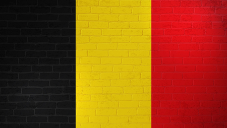 Belgium national flag painted on brick wall. Stone wall texture background. Vintage minimalistic template for wallpaper,poster, banner.Background for design in country flag.Vector grunge illustration.