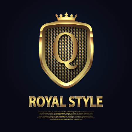 Letter Q on the shield with crown isolated on dark background. Golden 3D initial business vector template. Luxury, elegant, glamour, fashion, boutique for branding purpose. Unique classy concept.