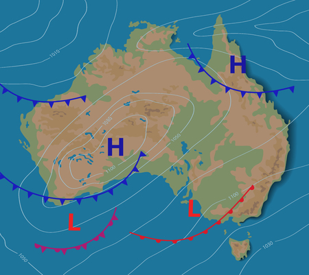 Weather forecast of Australia. Meteorological weather map of the AUSTRALIA. Realistic synoptic map with aditable generic map showing isobars and weather fronts. Topography and physical map.