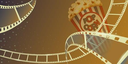 Cadre de bande de film avec boîte de pop corn isolé sur fond marron. Vue rapprochée pour la bannière du festival de cinéma de mise en page de conception. Cinéma de modèle avec un espace pour votre texte. Style isométrique 3d de vecteur.