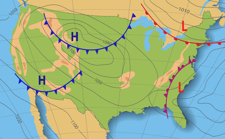 Weather forecast. Meteorological weather map of the United State of America. Realistic synoptic map USA with aditable generic map showing isobars and weather fronts. Topography and physical map. Ilustração
