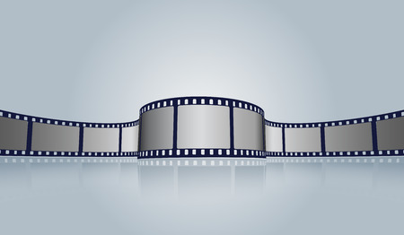 Film strip roll vector cinema background. Creative old film strip frame with place for text. Vector cinema festival poster, banner or flyer background.