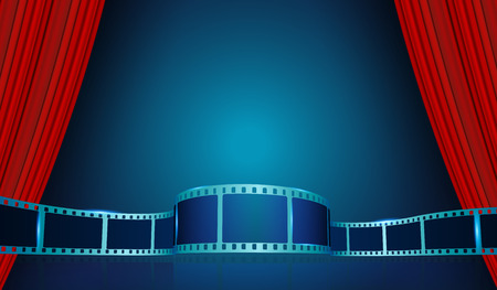 Film strip frame behind Red Curtains. Vector cinema festival poster, banner or flyer background. Art design reel cinema filmstrip template. Movie time and entertainment concept.