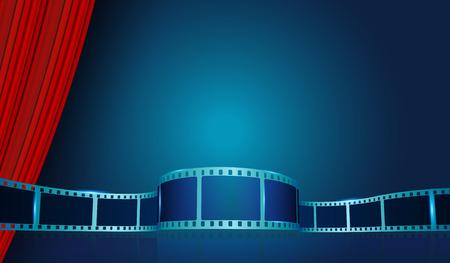 Film strip frame behind Red Curtains. Vector cinema festival poster, banner or flyer background. Art design reel cinema filmstrip template. Movie time and entertainment concept. Vector illustration