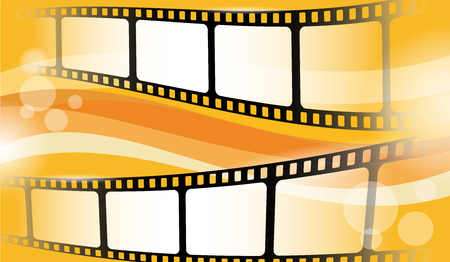 Film strip frame isolated on colorful background. Cinema festival poster, banner or flyer. Creative vector illustration of old film strip frame. Movie time and entertainment concept. Vector Illustration