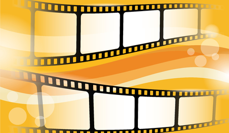 Film strip frame isolated on colorful background. Creative vector illustration of old film strip frame. Movie time and entertainment concept. Cinema festival poster, banner or flyer. Иллюстрация