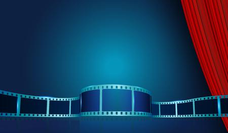 Film strip frame by Red Curtain. Cinema festival poster, banner or flyer background. Creative vector illustration of old film strip frame.Art design reel cinema filmstrip template Vektoros illusztráció