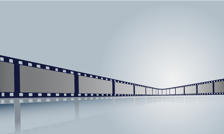 Film strip roll frame cinema with place for text. Vector cinema festival poster, banner or flyer background.Art design reel cinema filmstrip template.Movie time and entertainment concept.