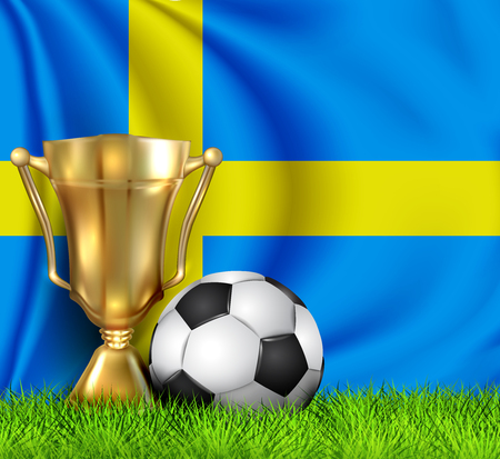 Golden realistic winner trophy cup and soccer ball isolated on national Sweden flag. National team is the winner of the football. Cup winner in the form of a golden bowl.Sport design background.