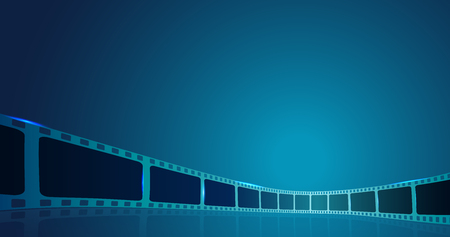 Film strip roll frame cinema on the blue background. Vector cinema festival poster, banner or flyer background. Art design reel cinema filmstrip template.Movie time and entertainment concept.