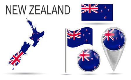 NEW ZEALAND. Flag, map pointer, button, waving flag, symbol, flat icon and map of country in the colors of the national flag. Vector illustration of collection of national symbols on various objects.