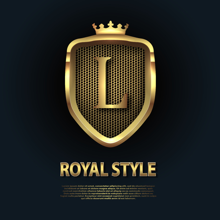 Letter L on the shield with crown isolated on dark background. Golden 3D initial  business vector template. Luxury, elegant, glamour, fashion, boutique for branding purpose. Unique classy concept.