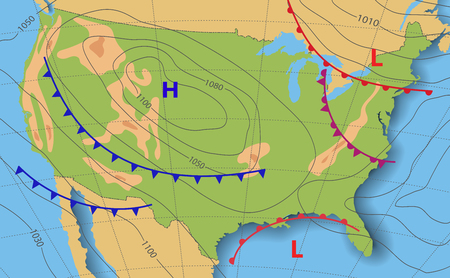 Weather forecast USA. Meteorological weather map of the United State of America. Realistic synoptic map with aditable generic map showing isobars and weather fronts. Topography and physical map.EPS 10 Illustration