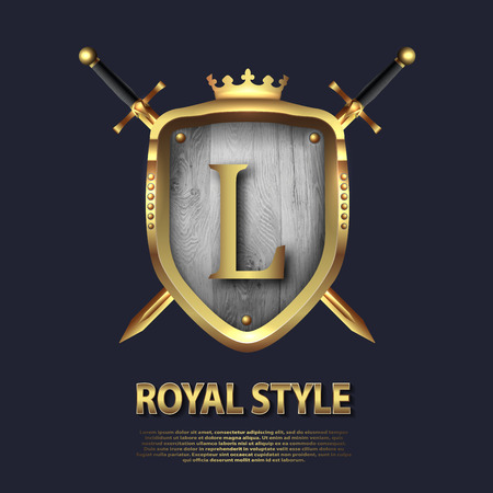 Two crossed swords and shield with crown and letter L. Letter Design in gold color for uses as heraldic symbol of power. Illustration