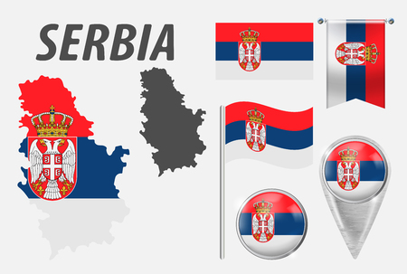 SERBIA. Collection of symbols in colors national flag on various objects isolated on white background. Flag, pointer, button, waving and hanging flag, detailed outline map and country inside flag.