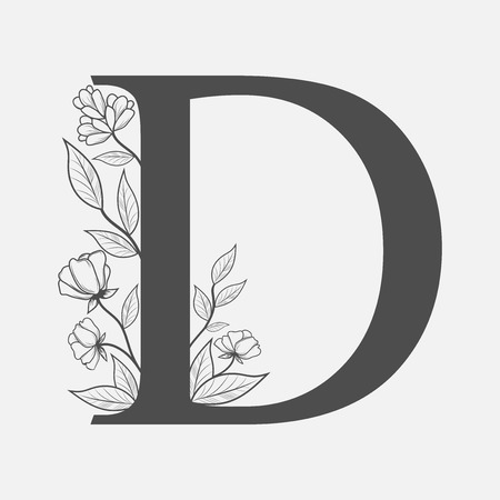 Uppercase Letter D with flowers and branches. Vector flowered monograms or logos. Hand Drawn concept. Botanical design branding. Composition of letter and flowers for wedding card, invitations, text, brand, decorative elements.