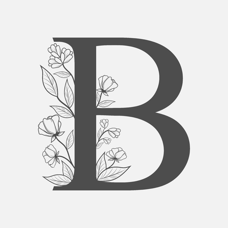 Uppercase Letter B with flowers and branches. Vector flowered monogram or logo. Hand Drawn concept. Botanical design branding. Composition of letter and flowers for wedding card, invitations, brand