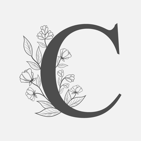 Uppercase Letter C with flowers and branches. Vector flowered monogram or logo. Hand Drawn concept. Botanical design branding. Composition of letter and flowers for wedding card, invitations, brand