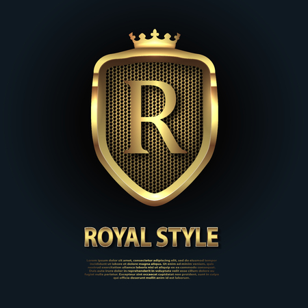 Letter R on the shield with crown isolated on dark background. Golden 3D initial logo business vector template. Luxury, elegant, glamour, fashion, boutique for branding purpose. Unique classy concept Archivio Fotografico - 123984644