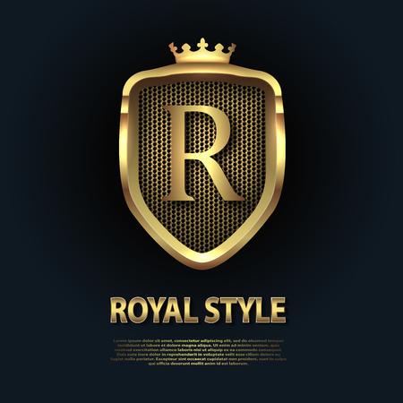 Lettera R sullo scudo con corona isolata su sfondo scuro. Modello di vettore di affari di logo iniziale 3D dorato. Lusso, eleganza, glamour, moda, boutique per scopi di branding. Concetto di classe unico