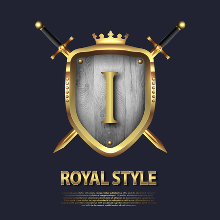 Letter J and two crossed swords and shield with crown. Letter Design in gold color for uses as heraldic symbol of power, loyalty, security, emblem, logo. Background Vector illustration