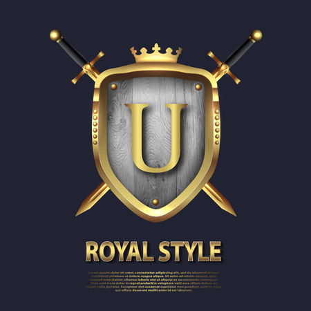 Letter U and two crossed swords and shield with crown. Letter Design in gold color for uses as heraldic symbol of power, loyalty, security, emblem, logo. Background Vector illustration Stock Illustratie