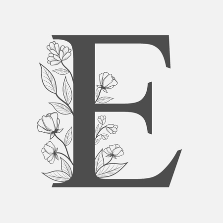Uppercase Letter E with flowers and branches. Illustration