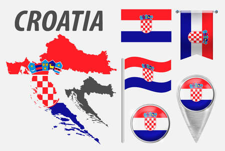CROATIA. Collection of symbols in colors national flag on various objects isolated on white background. Vectores